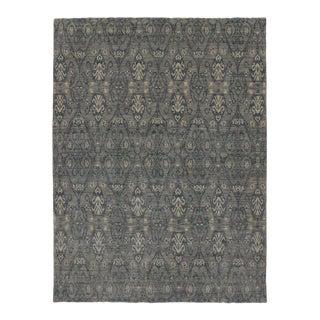 Modern Dark Gray Transitional Ikat Rug