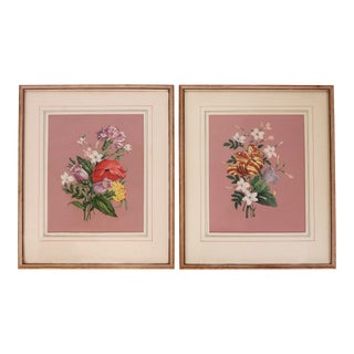 Vintage 1940s Pink Floral Bouquet Botanicals - Pair For Sale