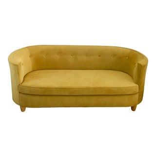 Bohemian Golden Velvet Tufted Sofa For Sale