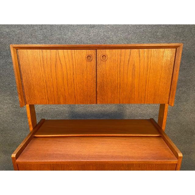 Vintage Danish Mid Century Modern Teak and Oak Secretary Desk Vanity For Sale - Image 4 of 11