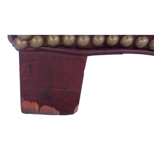 Pearson Chestnut Leather Sofa with Brass Nailhead Trim For Sale - Image 5 of 8