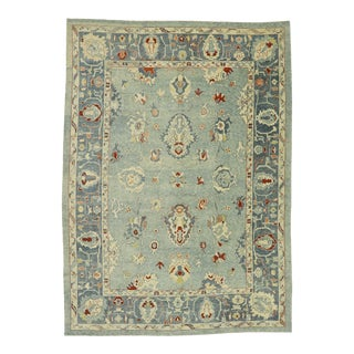 Contemporary Turkish Oushak Rug - 11'02 X 15'07 For Sale