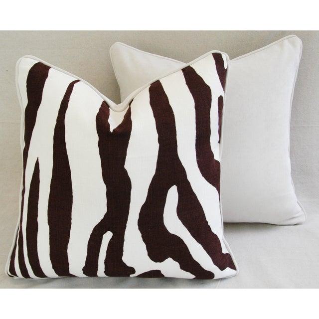 Custom Scalamandre Zebra Linen Pillows - Pair - Image 9 of 11