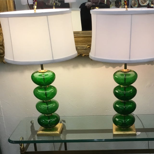 Vintage Murano Emerald Green Lamps - a Pair - Image 3 of 3