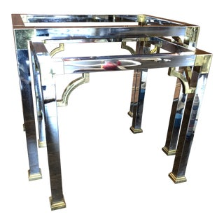 20th Century Contemporary Chrome and Brass Fretwork Nesting Tables - Set of 2 For Sale