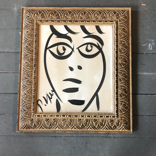 1980s Original Vintage Peter Robert Keil Abstract Face Painting 1989's Framed For Sale - Image 5 of 5
