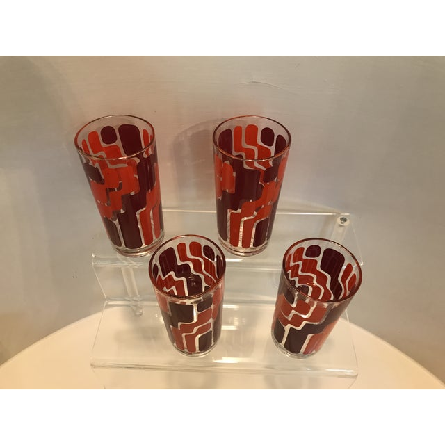 1960s Mid-Century Modern Orange and Pink Mod Highball Glasses - Set of 4 - Image 2 of 4