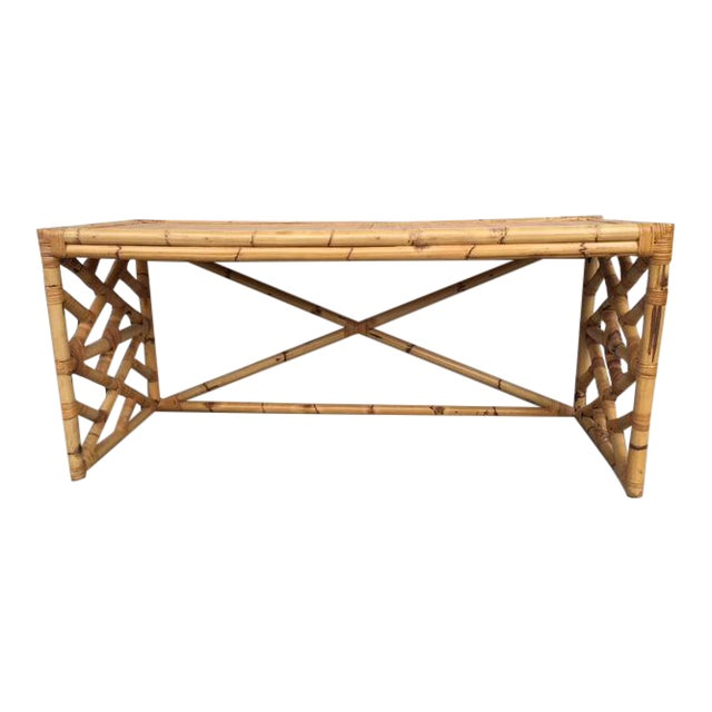 Tropical Chic Bamboo & Rattan Console - Image 1 of 8