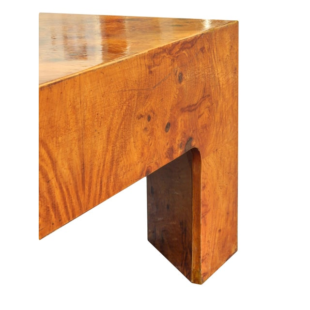 Large Square Bookmarked Burl Veneer Coffee Table For Sale In New York - Image 6 of 11