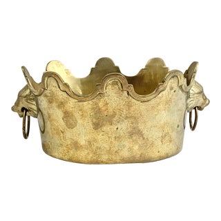 Vintage Brass Lion Handle Cachepot For Sale