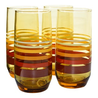 Midcentury Striped Highballs, S/4 For Sale