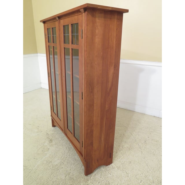 Stickley Mission Cherry Leaded Glass 2 Door Bookcase For Sale In Philadelphia - Image 6 of 13