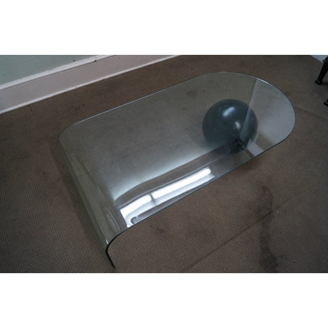 Transparent Mid-Century Curved Waterfall Glass Coffee Table For Sale - Image 8 of 10