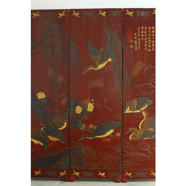 Chinese Coromandel Style Two-Sided Lacquer Screen For Sale - Image 4 of 13