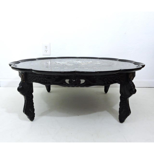 Mid 20th Century Mid 20th Century Asian Black Lacquer and Inlaid Mother of Pearl Folding Round Coffee Table For Sale - Image 5 of 9