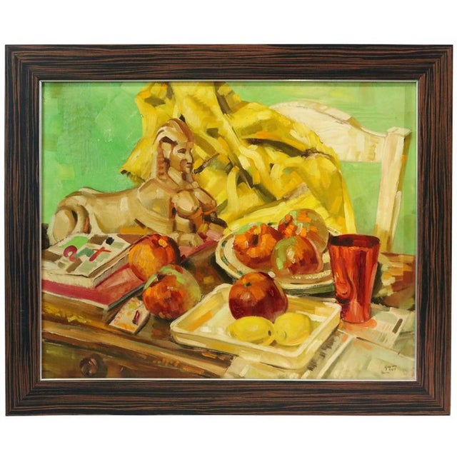 This still life painting is by the American artist Ralph Gagnon and dates to 1954. Here the artist has combined items...