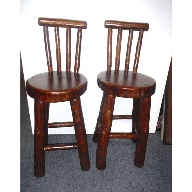 Pair of Rustic Log /Hickory Bar Stools w/ Pllank Seats For Sale - Image 4 of 10