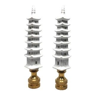 Chinoiserie Porcelain Pagoda Lampshade Finials - a Pair