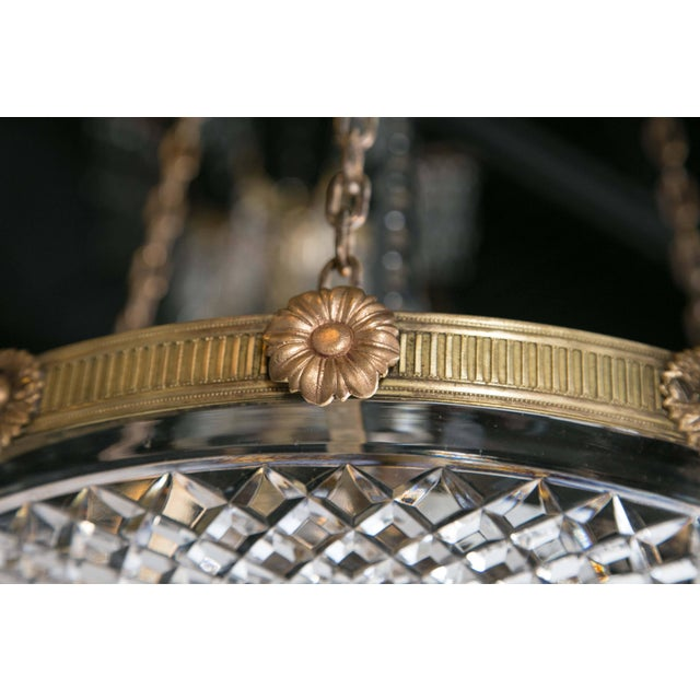 Gold 1930 French Gilt Bronze Chandelier With Cut Crystal Inset For Sale - Image 8 of 10