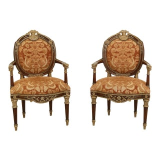 1970s French Louis XV Style Open Arm Chairs - a Pair For Sale