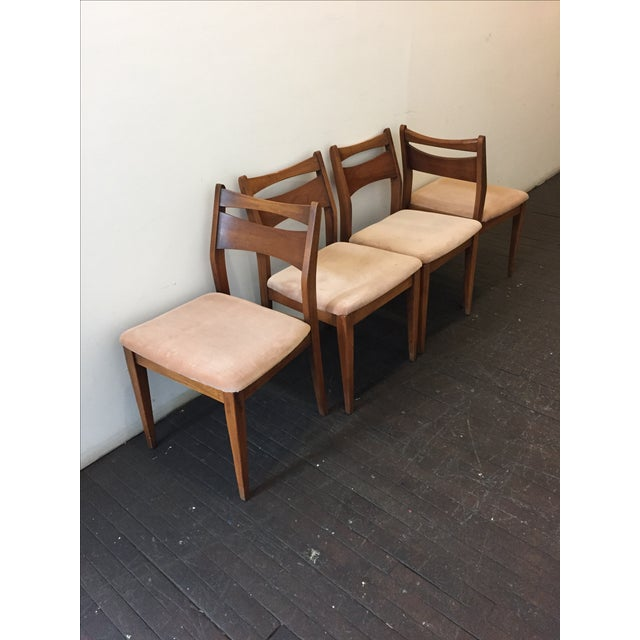 Mid-Century Velvet & Walnut Dining Chairs - Set of 4 - Image 10 of 10