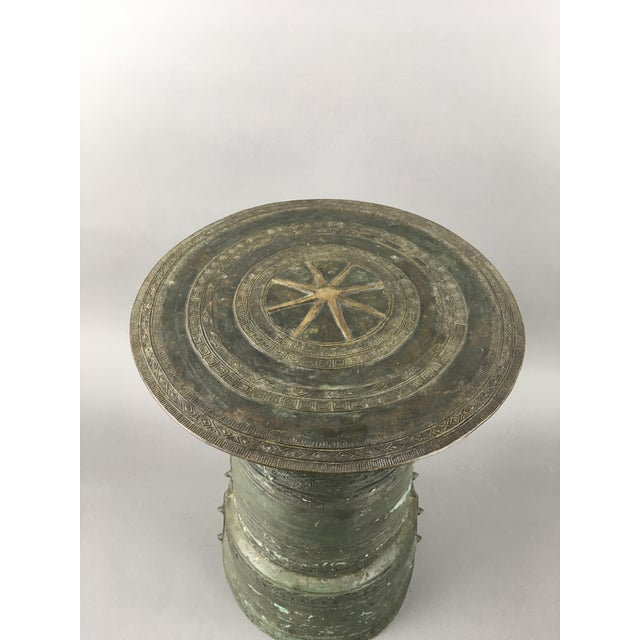 Asian Antique Burmese Thai Bronze Frog Rain Drum Side Table For Sale - Image 3 of 6