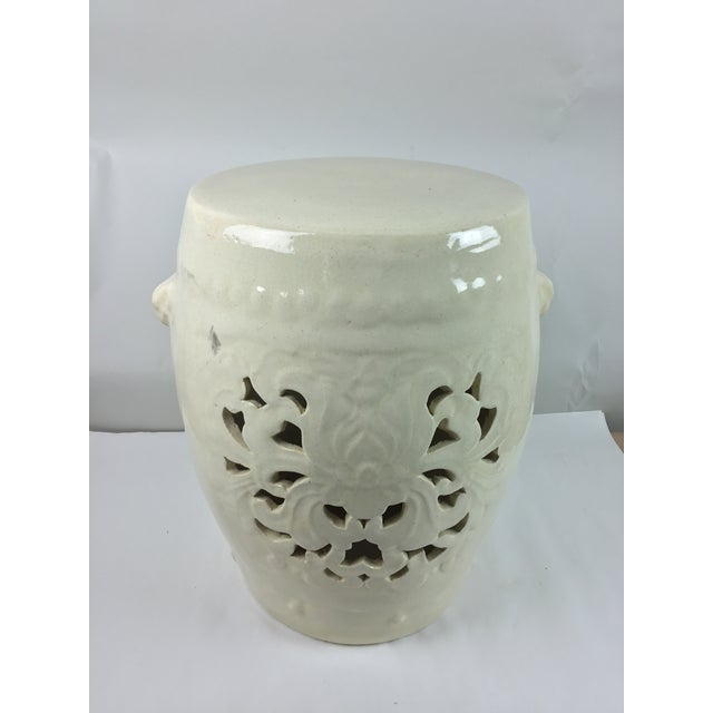 Vintage White Pierced Asian Garden Seat Stool For Sale In Detroit - Image 6 of 13