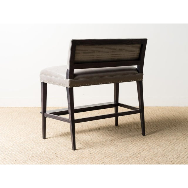 Lee Industries Two Person Leather Bar Bench For Sale - Image 4 of 6
