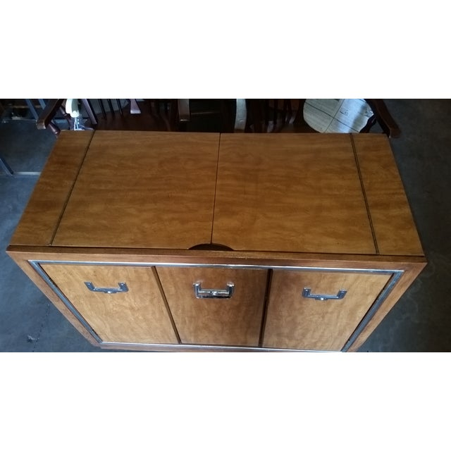 Mid-Century Modern Mid-Century Modern Credenza Flip Top Burl Style For Sale - Image 3 of 10