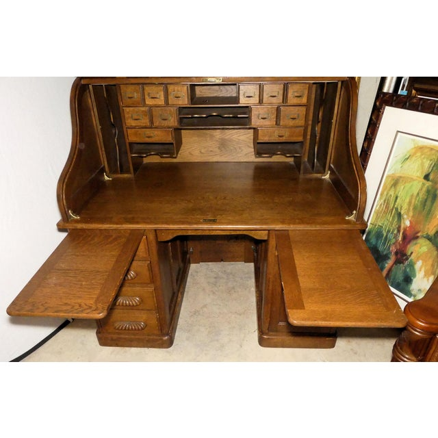 Solid Oak Rolltop Desk With Roll Front Hutch For Sale - Image 4 of 12