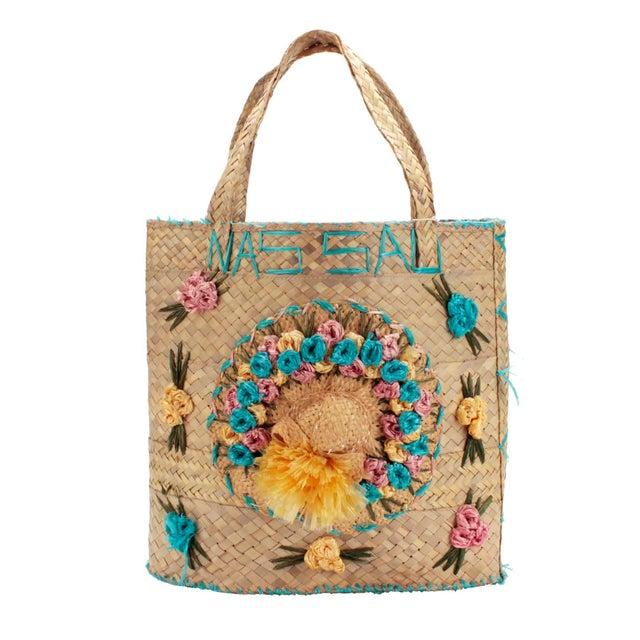 Wood Vintage Woven Nassau Tote Bag Souvenir For Sale - Image 7 of 7