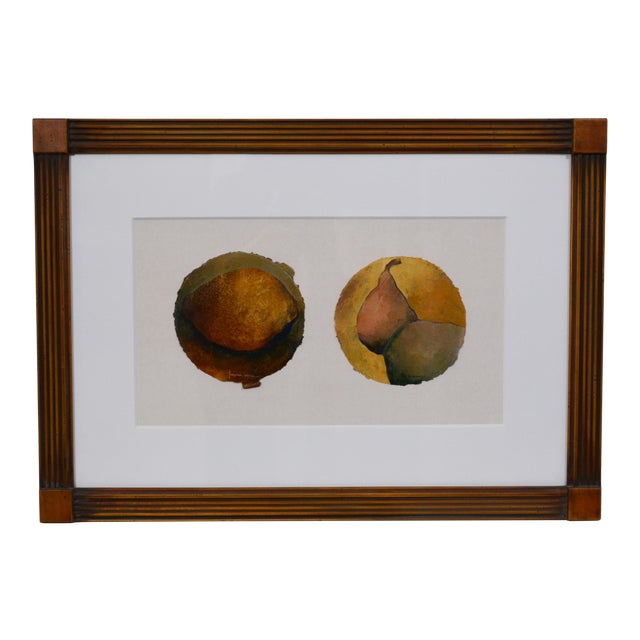 Small Oil Painting of Pears on Paper For Sale