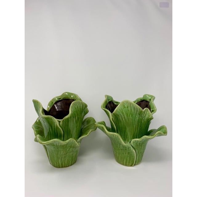 Boho Chic Modern Majolica Leaf Planters - A Pair For Sale - Image 3 of 8