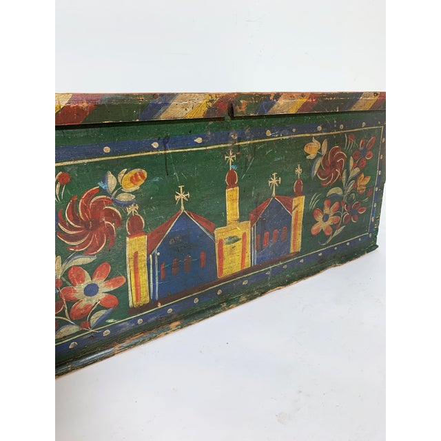Green 19th C. Eastern European Antique Folk Art Painted Chest For Sale - Image 8 of 13