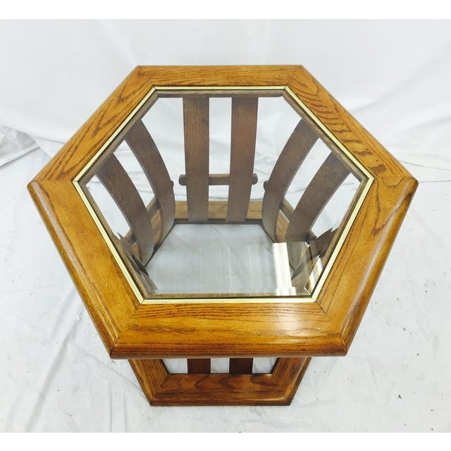 Retro Mid Century Wood & Glass Top Side Table - Image 4 of 7