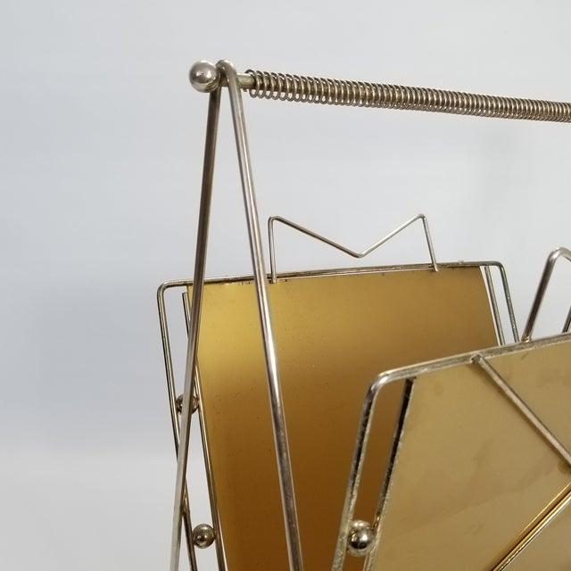 Rare Atomic Mid Century Modern Magazine Holder Rack - Sputnik Era 1950s Abstract Minimalist Art Deco For Sale - Image 12 of 13