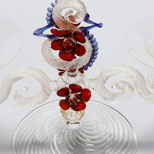 Two Light Venetian Glass Hand Blown Candlesticks - a Pair For Sale - Image 9 of 11