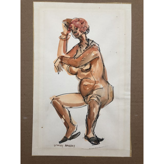 Figurative 1950s Watercolor of a Seated Female Nude, Stanley Brodey For Sale - Image 3 of 5