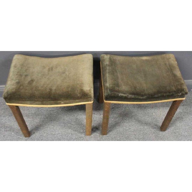 A rare pair of 1937 authentic George VI Coronation stools, with original upholstery.