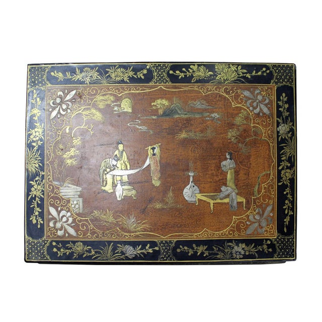 Chinese Brown Black Lacquer Scenery Kang Table Stand For Sale In San Francisco - Image 6 of 7