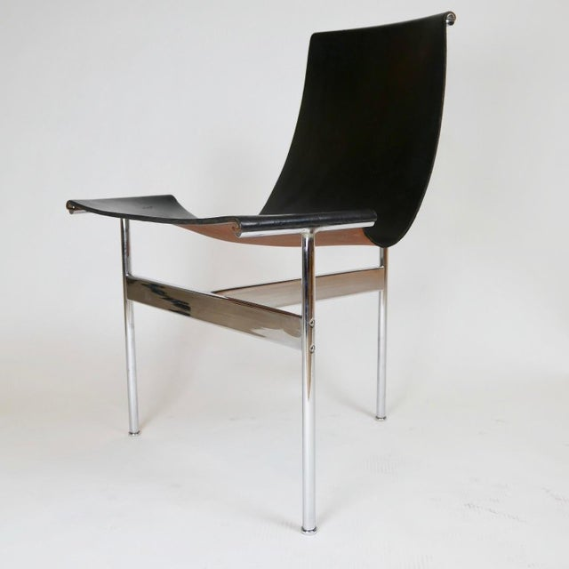 """Animal Skin Set of 6 1952 Katavolos Kelley & Littell for Laverne """"T"""" Chairs in Black Leather For Sale - Image 7 of 13"""