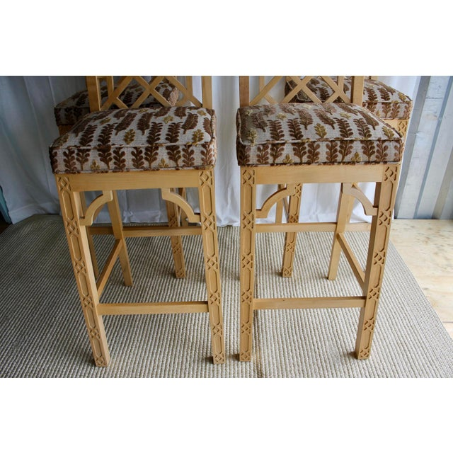 Late 20th Century Chinese Chippendale Chinoiserie Fretwork Bar Stool For Sale - Image 12 of 13