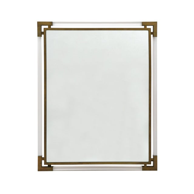 Mid-Century Modern Lucite and Brass Wall Mirror For Sale - Image 4 of 4