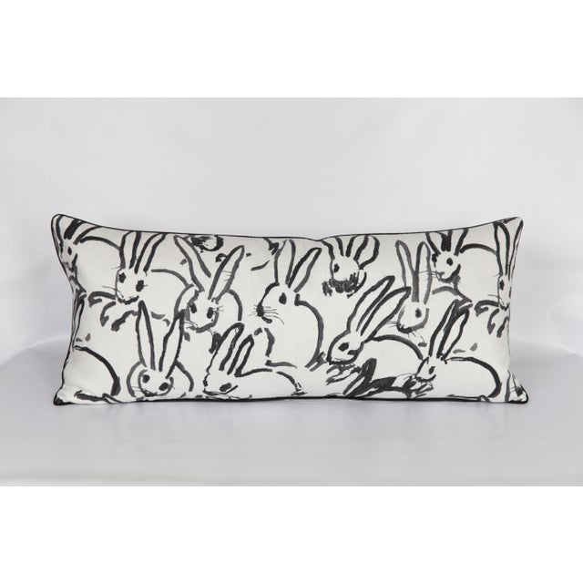 2010s Black and White Bunny Large Lumbar Pillow For Sale - Image 5 of 5