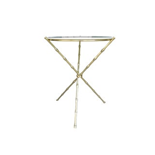Hollywood Regency Brass Bamboo/Milk Glass Tripod Side Table For Sale