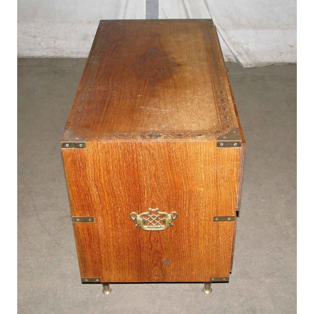 American Classical Wood Inlaid Brass Chest of Drawers For Sale - Image 3 of 8