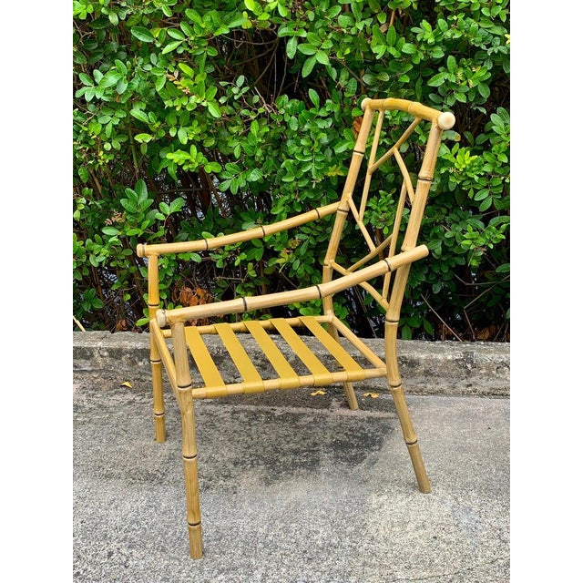 Set of Six Hollywood Regency Faux Bamboo Garden Chairs For Sale - Image 9 of 10