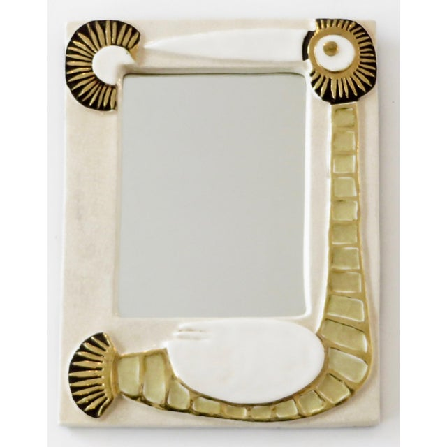 French Francois Lembo Ceramic Wall Mirror For Sale In Chicago - Image 6 of 8