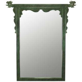 Large Stippled Green Lacquer Chinese-Style Mirror With Dolphins For Sale