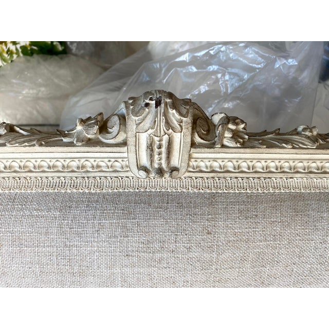 Antique French Grey White Painted Settee Upholstered in Off White Linen For Sale - Image 11 of 13
